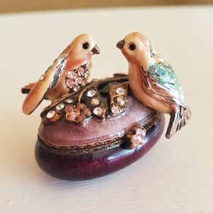 Jay Strongwater Lovebirds Trinket Box